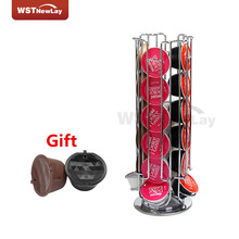Top Home Solutions Revolving Rotating 24 Capsule Coffee Pod Holder Tower Stand Rack +Plastic Refillable Compatible Dolce Gusto