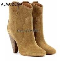 Top Quality Mulheres Botas de Saltos Altos Tornozelo Slip-on sapatos de Camurça Senhora moda Sexy Sapatos Botas Legal do Estilo Outono Inverno Sapatos De Salto Alto botas