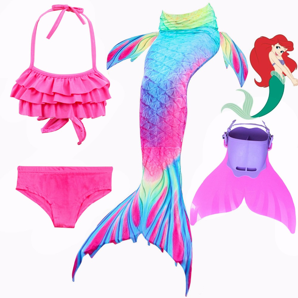 2018 NEW 4pcs/Set Ariel Mermaid Tail for Girls Swimming Kids Swimmable Mermaid Tail Swimsuit Costume Cosplay with Fins Swimwear