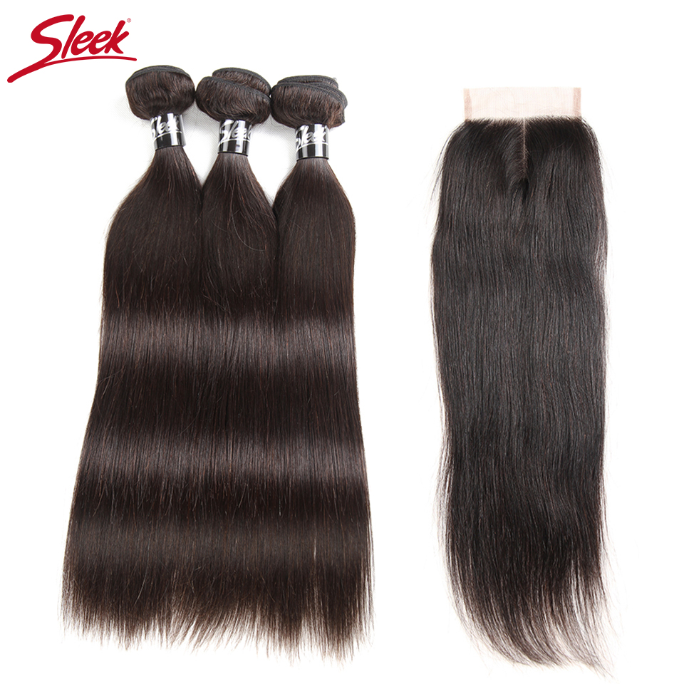 Sleek Hair 8 To 30 Inch Brazilian Straight Bundles With Closure Middle Part Remy Human Hair Weave 4 Bundles With Closure