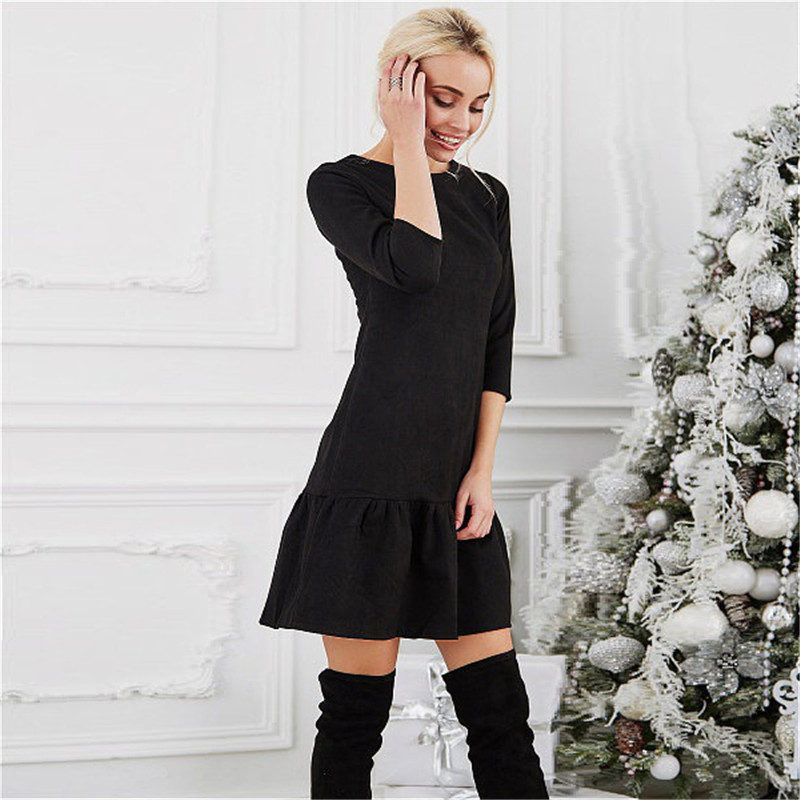 Fall 2018 Women Suede Casual Three Quarter Sleeve T Shirt Mini Dress Autumn Winter Fashion Vintage Ruffle Christmas Dresses 6
