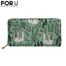 Sloth Long Wallet Women Purses Fashion Coin Purse Card Holder Wallets Female High Quality Zipper Money Bag PU Leather Wallet pu leather female plaid purses fashion woman small zipper wallet with coin purse women short wallets card holder wallet