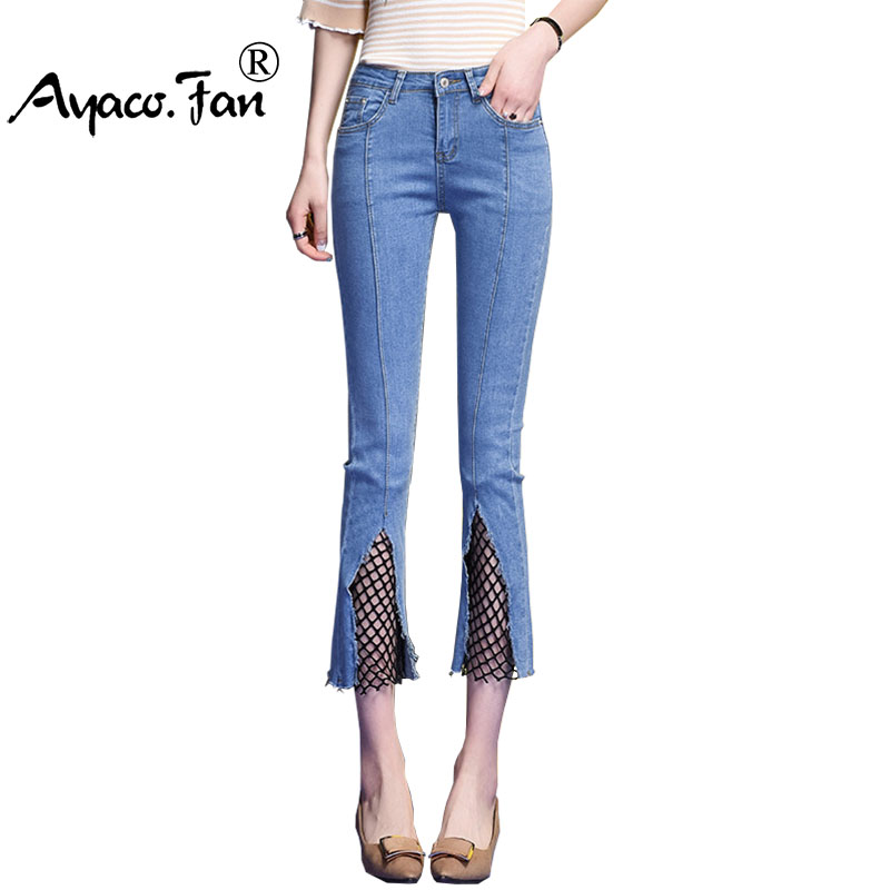Woman Jeans Ripped Denim Flare Pants Elastic Holes Skinny Sexy Nets Spliced Bottom Women Slim Trousers Summer leggings Flares women ripped jeans denim mid waist pencil pants high elastic holes in knees skinny bottom female trousers summer leggings cotton