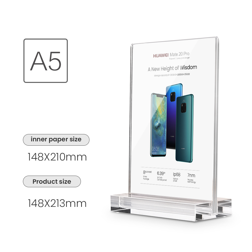 A5 Card Sign Display Stand Acrylic POP Display Holder Price Holder Desk POP Display Stand for Mobile Phone Store