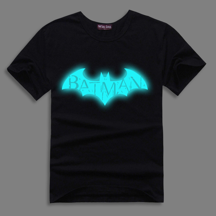 100% Cotton!Batman Super Hero Movie Fluorescent Reflective Cosplay t-shirt Summer Top tshirt free shipping