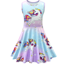2019 New Kids Dresses Girls Sleeveless Princess Party Casual Unicorn Clothes