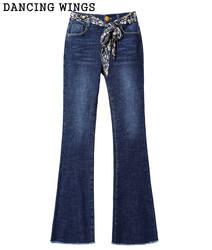 Джинсы женские с высокой талией джинсовые брюки 2019 Весна женские повседневные широкие брюки Удобные расклешенные брюки