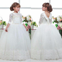 Three Quater Sleeves 2017 Special Occasion Gown Flower Girl Dresses Girls Pageant Dresses White First Communion
