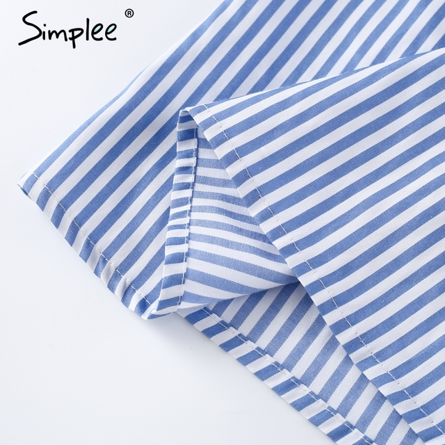 Simplee Ruffles one shoulder striped shirt blouse Fashion blue women tops chemise femme 2017 summer party streetwear blusas