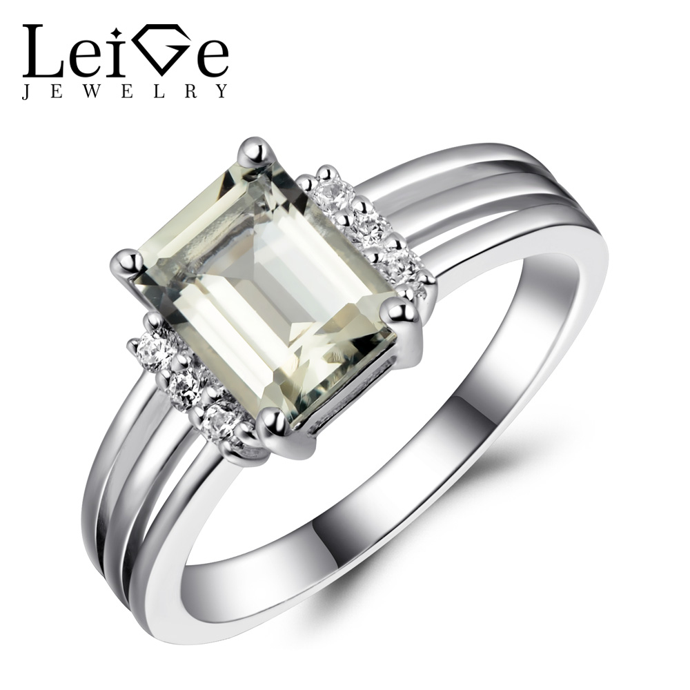 Leige Jewelry Natural Green Amethyst Ring Silver 925 Engagement Promise Rings for Women Emerald Cut Gemstone Fine Jewelry