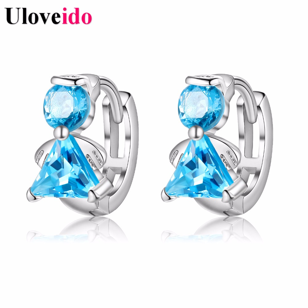 Uloveido 4 Colors Angel Fairies Silver Color Jewelry Womens Stud Earrings for Women Kids Christmas Gifts Boucle Doreille YR004