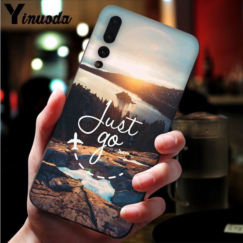 Image 2 - Yinuoda Far mountain sea hot air balloon and light printing Black Phone Case for Huawei Mate10 Lite P20 Pro P10 Plus Honor 9 10-in Half-wrapped Cases from Cellphones & Telecommunications