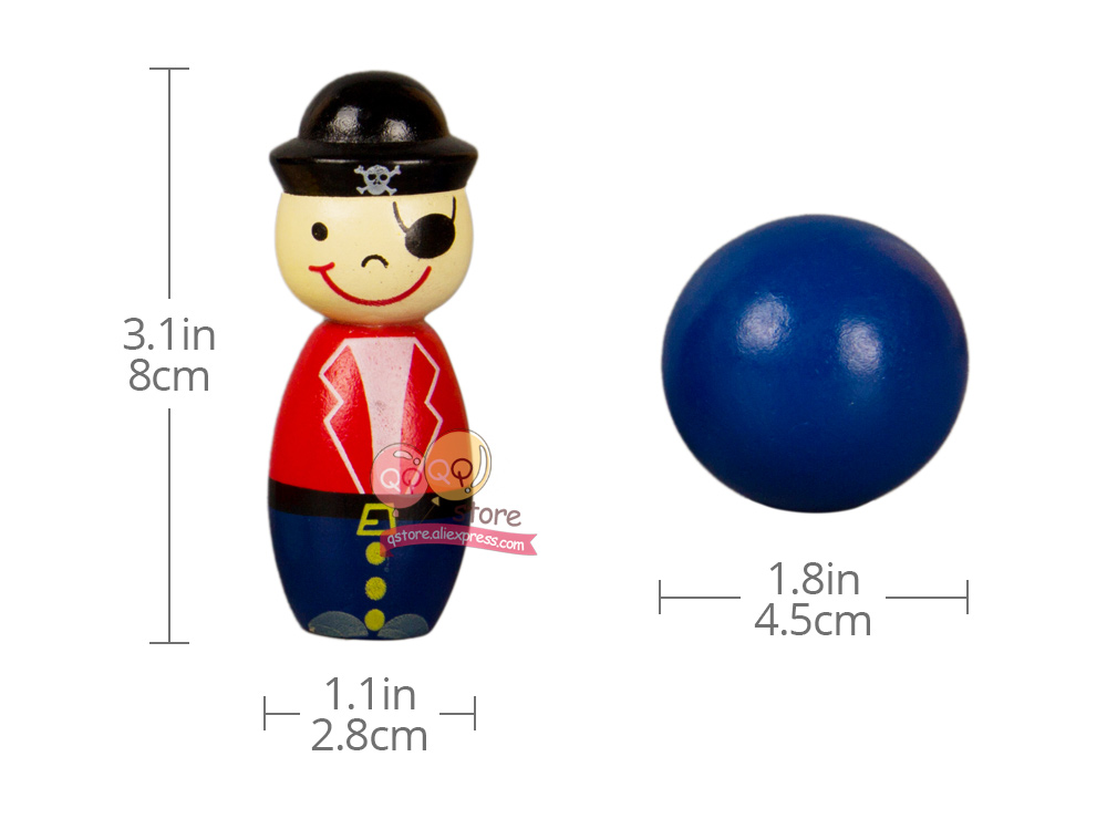 21c518ccff7 6PCS Pirates Wooden Mini Bowling Figures Indoor Toy Kids Ball Set ...