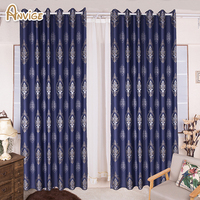 Anivge Luxury European Jacquard Full Blackout Curtain Thick Fabric Window Treatment For Living R