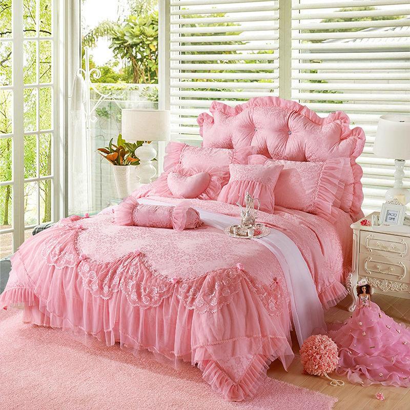 Pink Jacquard Silk Princess Style Bedding Set 4pcs Silk