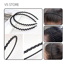 1 Piece High Elasticity Wave Shape Metal Hair Clip Black Iron Tooth Wave Wrought Fashion Head Buckle Beauty Hair Styling Tools
