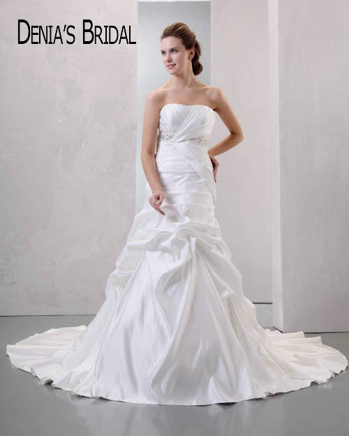 Ruched Mermaid Wedding Dresses Strapless Beaded Satin Court Train Bridal Gowns Custom Made