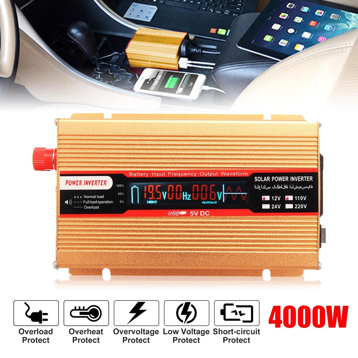 Voltage Transformer PEAK 4000W 12/24V To AC 220/110V Car Power Inverter USB Modified Sine Wave Converter for Various Appliances peak 5000w 12 24v to ac 220 110v car power inverter usb modified sine wave converter voltage transformer for various appliances