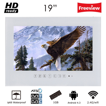 Souria 19 inch Smart Android Bathroom IP66 Waterproof Television Frameless LED Monitor Hotel Used LED TV Black/White Color