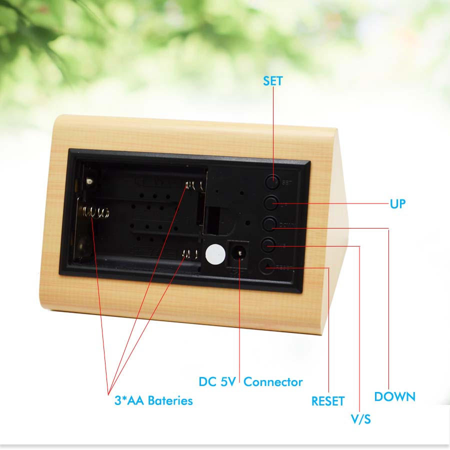 Buy Vintage Wooden Led Clock Digital Alarm Leds Temperature Indicator Circuit Diagram Decorative Table Clocks Control Sensing Temp Dual Display Electronic From Reliable