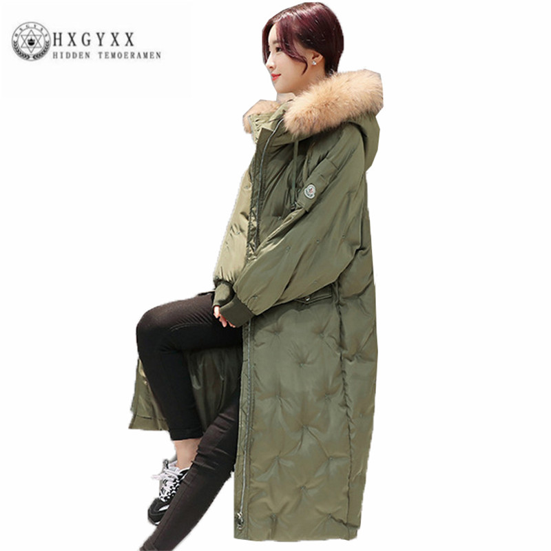 Thick Warm Women Cotton Coat 2017 New Leisure Loose Winter Long Outerwear Big fur collar Fashion Straight Female Parka ZX0171 women winter coat leisure big yards hooded fur collar jacket thick warm cotton parkas new style female students overcoat ok238