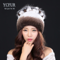 YCFUR 2016 New Arrival Women Winter Hats Fur Knitted Natural Rex Rabbit Fur Caps With Silver Fox Fur Beanies Hat Female Autumn