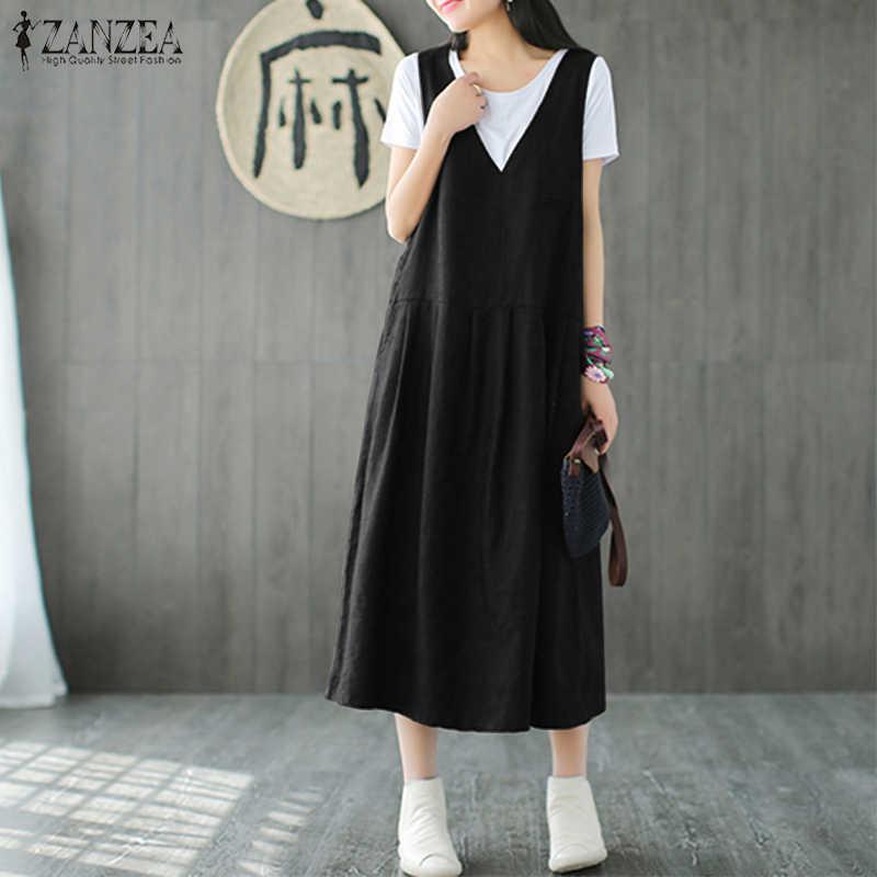b87a72aba2 Plus Size 2018 ZANZEA Summer V Neck Sleeveless Midi Dress Women Casual Overalls  Dress Solid Loose