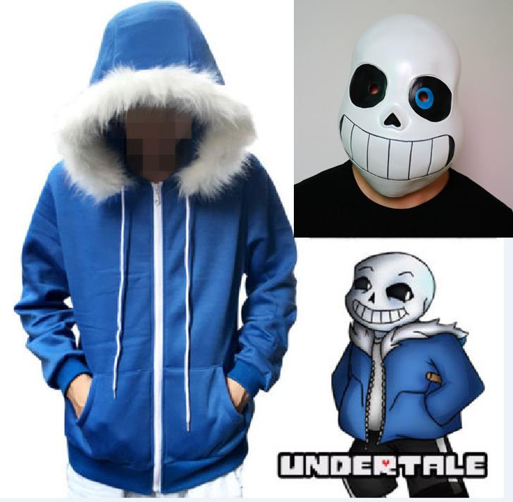 Undertale Sans Cosplay Hoodies Latex Mask COOL SKELETON Cos Blue Coat Halloween Cosplay Costume Unisex Jacket Headgear
