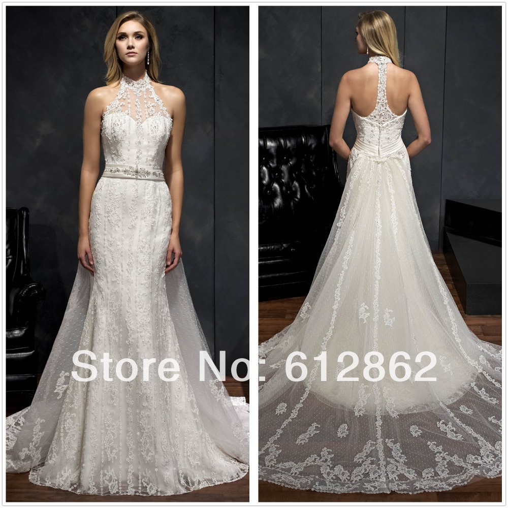 Sleeveless Vestido De Casamento Lace Long Train Low Back Halter Top ...