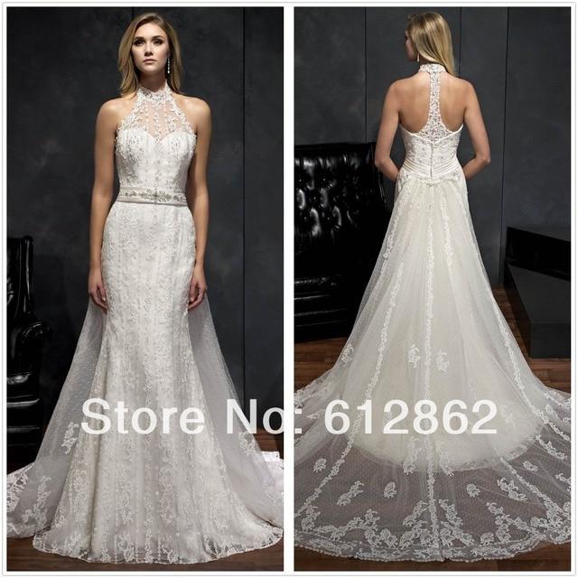 Sleeveless Vestido De Casamento Lace Long Train Low Back Halter Top Wedding  Dress 33cbac01a3b7