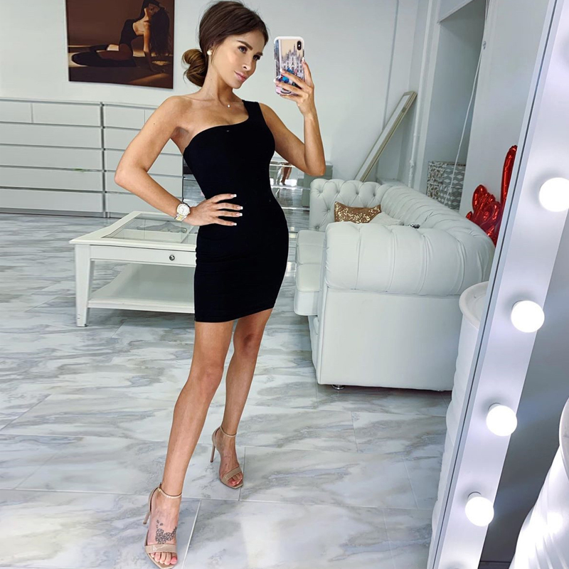 Hugcitar one shoulder cotton slim 2019 summer autumn women bodycon mini dress sexy party club sleeveless clothes