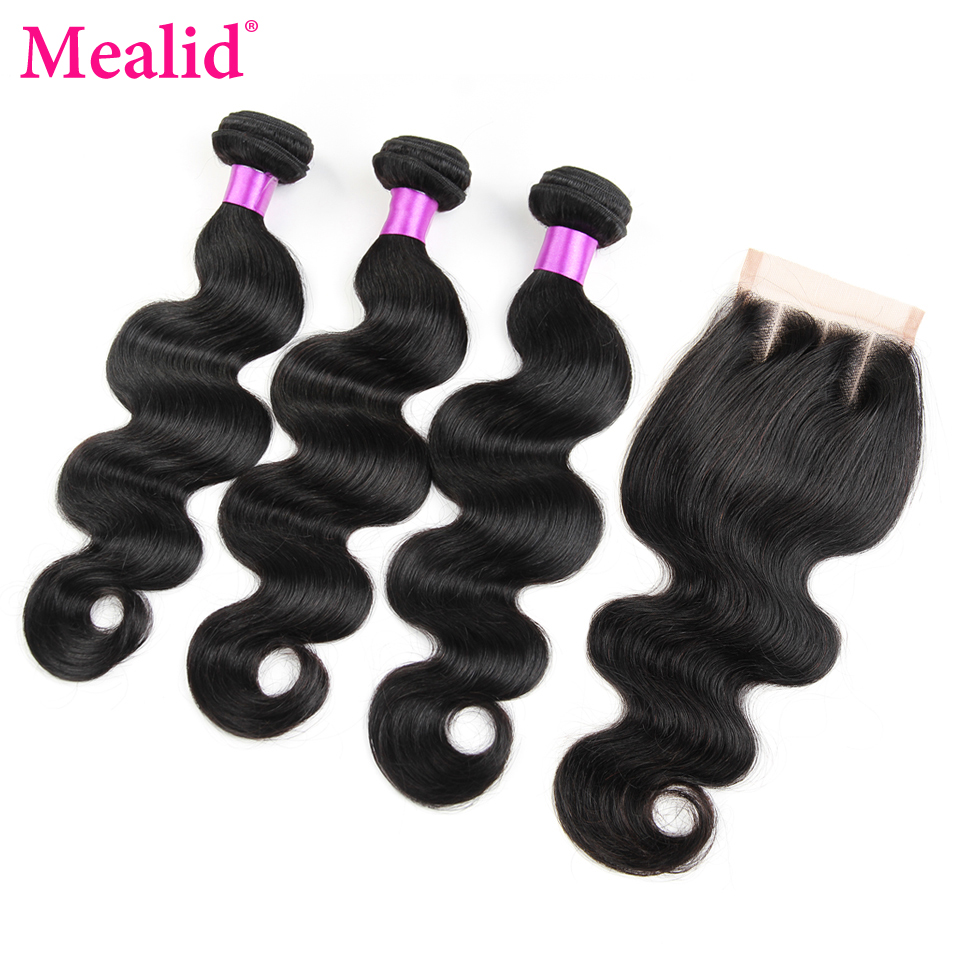 Mealid Brazilian Body Wave 3 Bundles With Closure Natural Color Non-remy Human Hair Bundles With Closure Free Middle Three Part