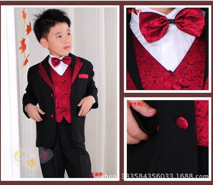 boys performance clothing sets kids button red black splice blazers suits kids clothes(coat+waistcoat+pants+Bow tie+Waist seal) student performance clothes children clothing sets boys blazers wedding sets pieces boys tuxedo suits