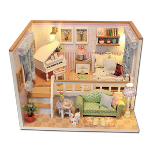 DIY Doll House Furnitures Miniatures For Dollhouse Light Wooden House For Dolls Toys For Children M026 #
