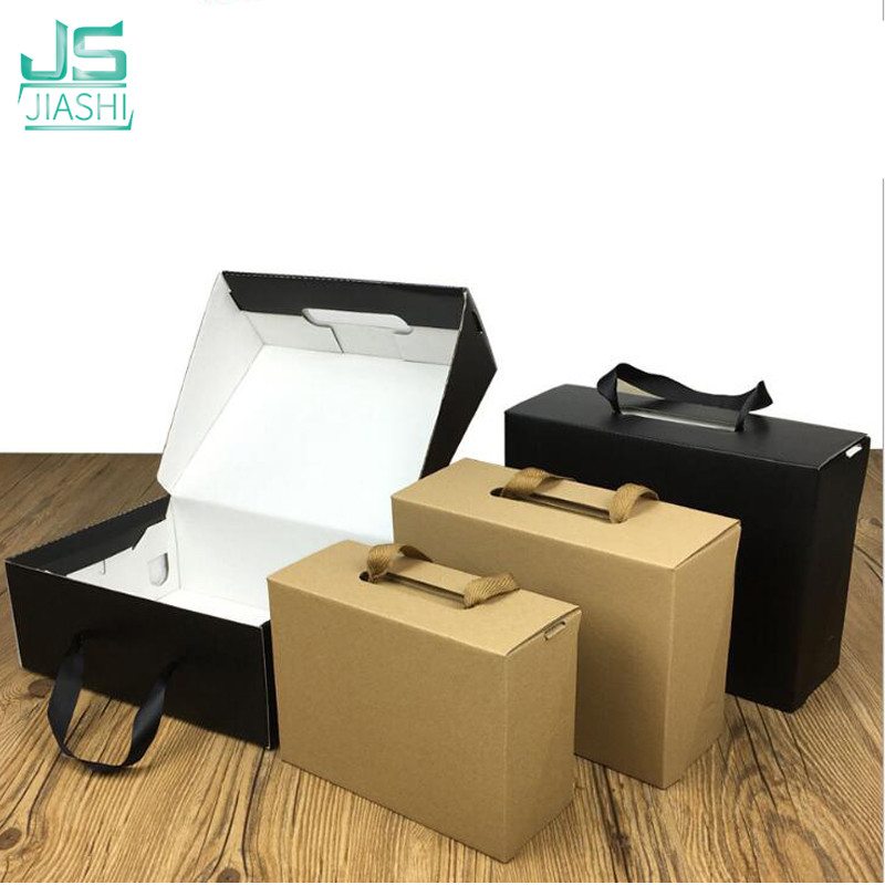Environmentally Friendly Kraft Paper Gift Box Black Yellow Foldable Custom Logo Carton Packaging Box Suitable For
