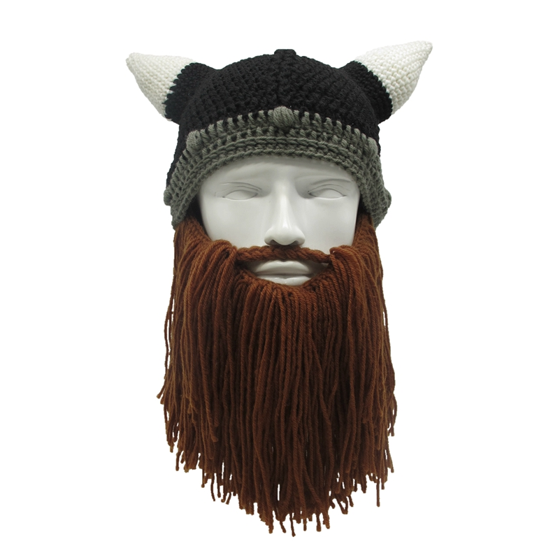 Mr.Kooky Barbarian Viking Beanie Beard Horn Hat Handmade Knit Winter Warm Cap Men Women Birthday Cool Funny Gag Party Xmas Gifts