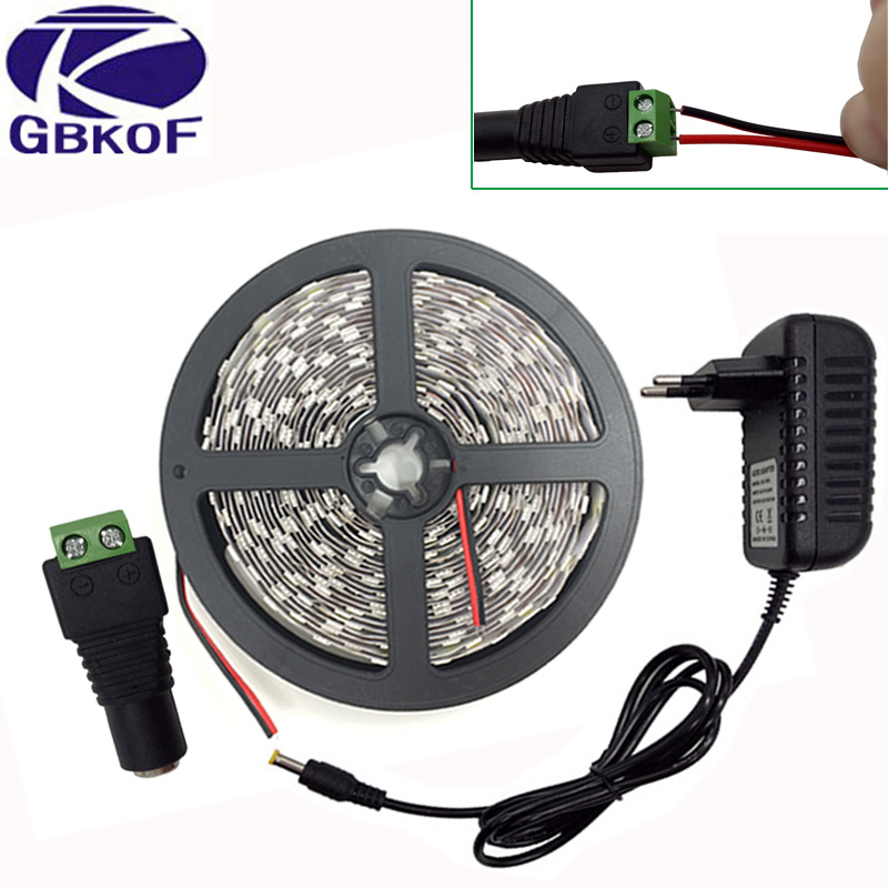 5m Roll 10m Cold White Warm White LED Strip Light SMD5050 2835 Non Waterproof Stripe Monochrome Led Tape DC12V Led Strip+adapter