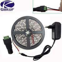Rollos de 5m 10m blanco frío blanco caliente LED de la luz de tira SMD5050 2835 no impermeable de monocromo led cinta DC12V tira de led + adaptador
