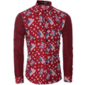 Camisa Cuadros Hombre Brand Dress Shirts Mens Flag Printed Patchwork Shirt Slim Floral Chemise Homme Camisa Masculina XXL