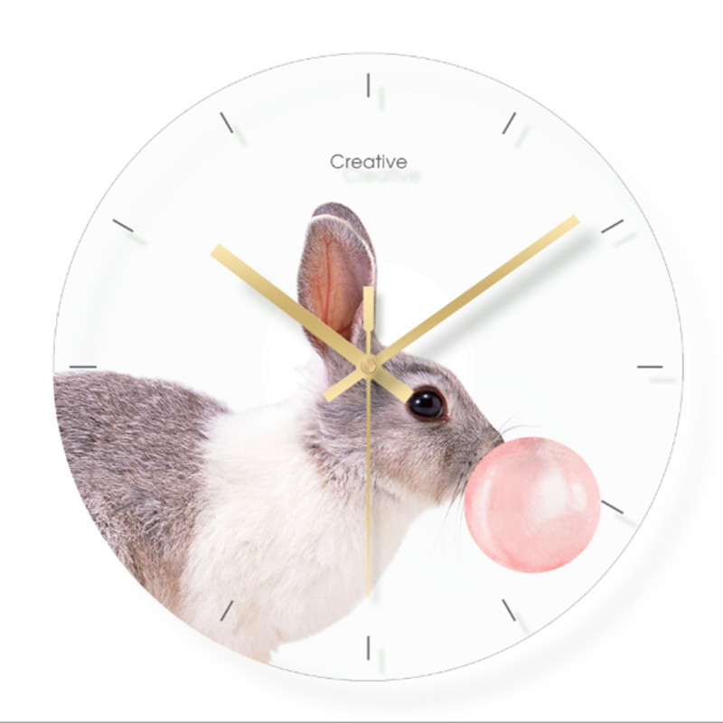 Wall clock Minimalist quartz watch flower animal picture Wall Clocks Home Decoration Living Room Silent 12 inch in Wall Clocks from Home Garden