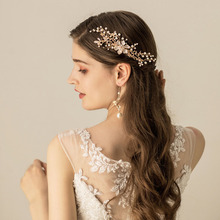 SLBRIDAL Handmade Gold Alloy Crystal Rhinestone Pearls Flower Wedding Hair Comb Bridal Headdress Accessories Women Jewelry