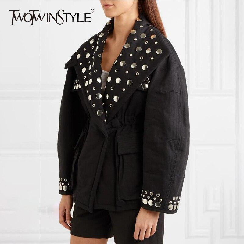 TWOTWINSTYLE Rivet Jacket Tops Female Eyelet V Neck Lantern Sleeve Tunic Women s Coat Oversize Fashion