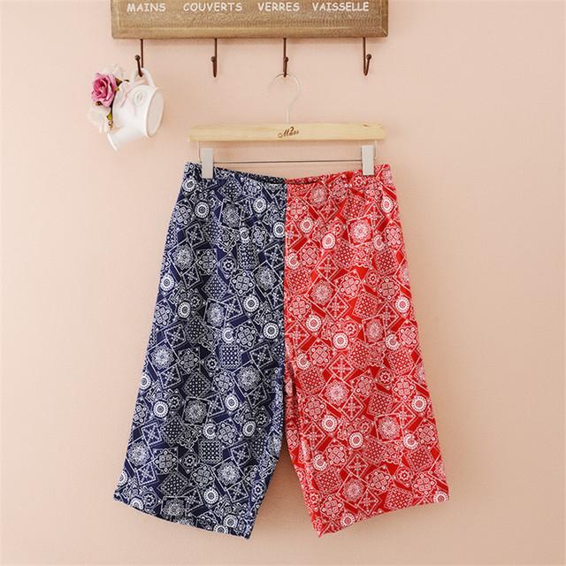 Calças Com Cordão elástico na cintura bolso duplo dos homens de impressão do joelho-comprimento curto pijama masculino