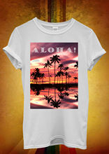 Aloha Sunset Hawaii Palm Trees Relax Men Women Unisex T Shirt  Top Vest 369 New Shirts Funny Tops Tee
