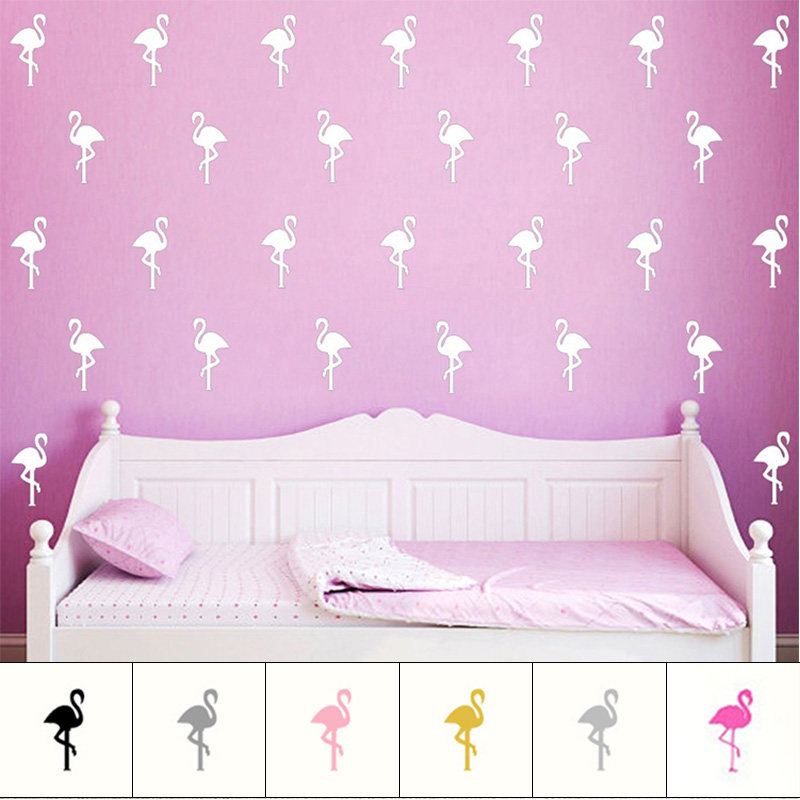 15PCs Flamingos Birds Swan Pattern DIY Wall Art Paster Stickers Vinyl Waterproof Eco-friendly Chidren Room Decor E2S