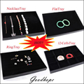 All Functional Jewelry Display Tray Black Velvet Organizer Displaying Box For Ring Necklace Pendant Earrings Flat Showed Cases