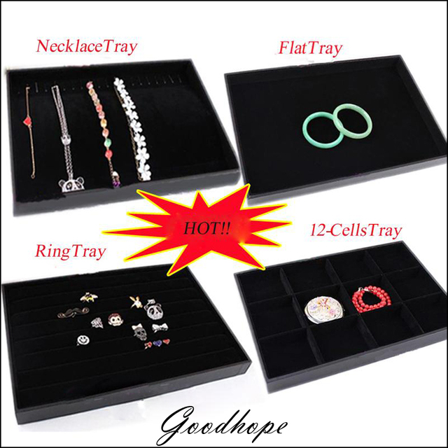 All Functional Jewelry Display Tray Black Velvet Organizer Displaying Box For Ring Necklace Pendant Earrings Flat