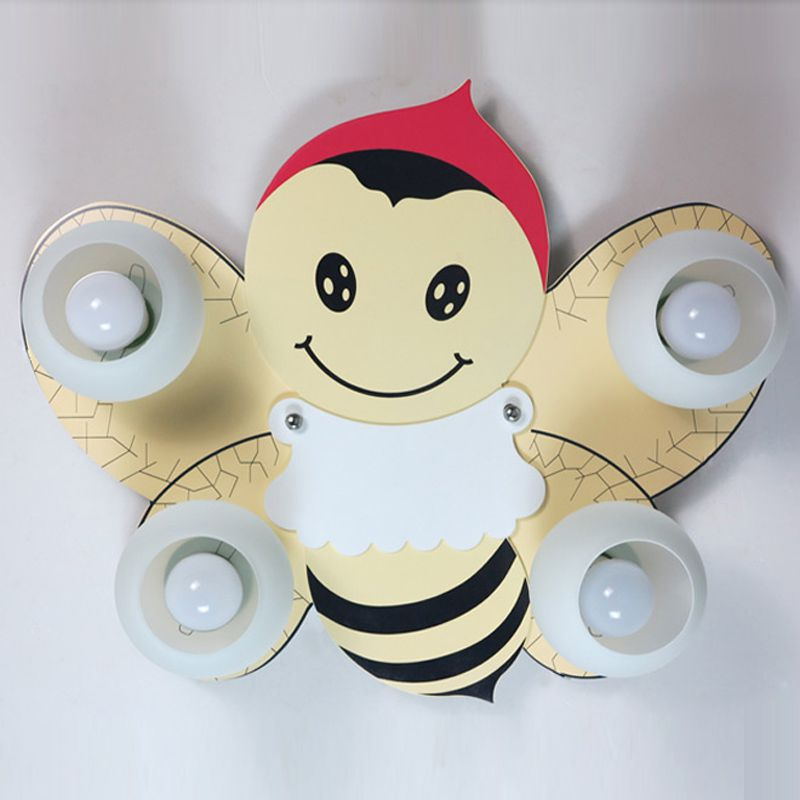 kids room cartoon wooden bee ceiling lamp creative baby room ceiling lamps boy girl room ceiling baby room lighting ceiling