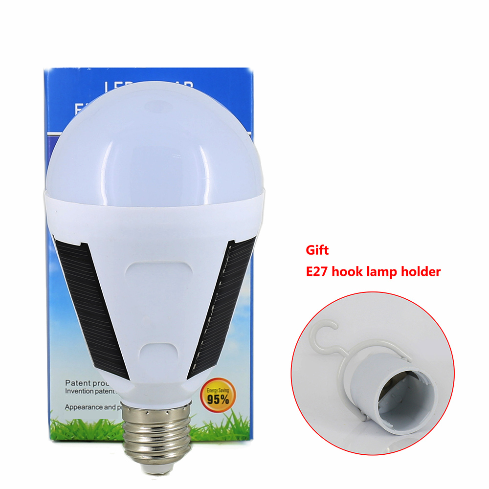 7W 12W LED solar emergency bulb Outdoor Hanging chargeable LED Bulb Camping E27 Lantern light Lamp Solar Power by 220V 110V led emergency light bulb emergency bulb automatic charging 5 7 9 12w rechargeable battery e27 lamp clh