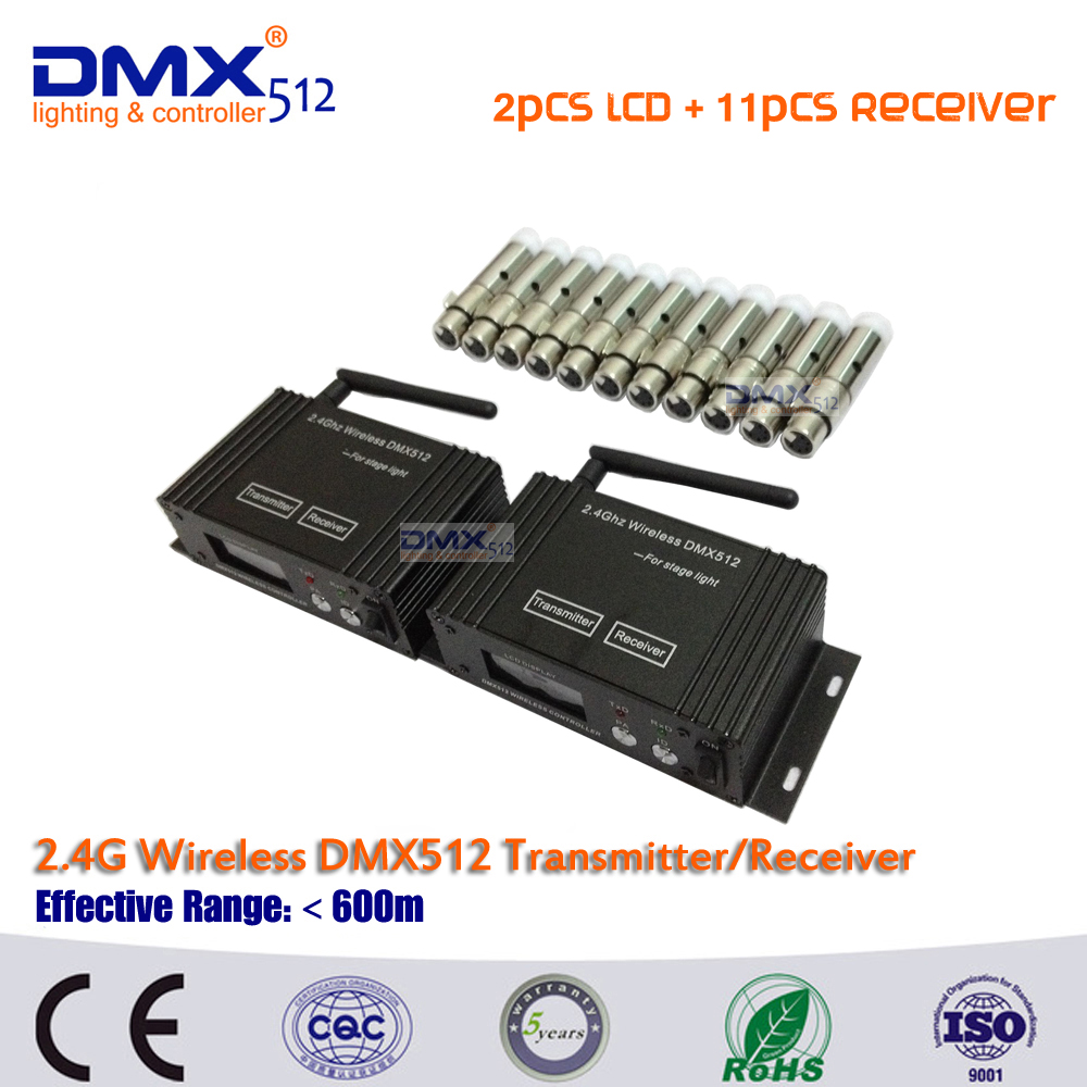 DHL Free Shipping wireless dmx controller 3pin XLR DMX512 wireless transmitter &11pcs mini receiver in dj disco party lights dmx512 digital display 24ch dmx address controller dc5v 24v each ch max 3a 8 groups rgb controller
